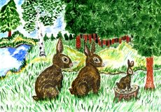 Wild Hare in Grass Art. Cartoon brown wild hare in the green grass watercolor illustration Stock Photos