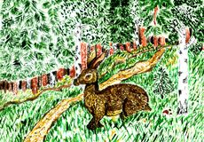 Wild Hare in Grass Art. Cartoon brown wild hare in the green grass watercolor illustration Stock Images