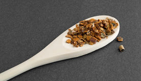 Wild harvested cherry tree bark on a wood spoon Stock Photo