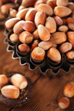 Wild hazelnut in iron bowls on wooden table Royalty Free Stock Photos