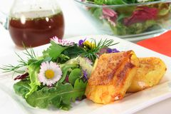 Wild herb salad. With goat cheese baked in a potato crust Royalty Free Stock Image