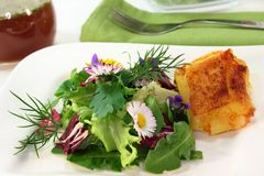 Wild herb salad. With goat cheese baked in a potato crust Stock Photos