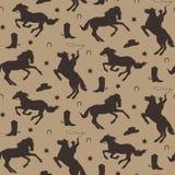 Wild het westen vector naadloos patroon Cowboy mannelijke achtergrond met paarden, hoef, sheriffkenteken, laars, hoed royalty-vrije illustratie