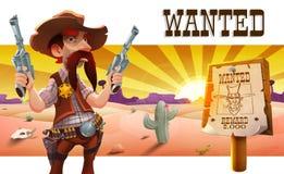 Wild het westenlandschap met koele cowboy royalty-vrije illustratie