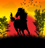 Wild horse. Wild free horse running on the fields stock illustration