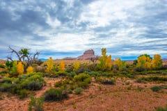 Wild Horse Butte Fall Colors and Beautiful Dramatic Sky Utah Lan Stock Photos