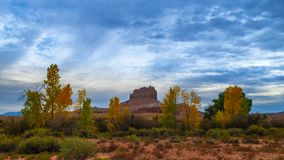 Wild Horse Butte Fall Colors and Beautiful Dramatic Sky Utah Landscape. Wild Horse Butte Near Goblin Valley State Park Utah 4K UHD Time-lapse stock video