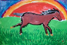 Wild horse running - gouache painting made by child royalty free stock images