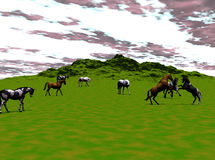 Wild Horses. Computer generated illustration of wild horses in a valley Royalty Free Stock Photo