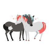 Wild horses hugging. Romantic clip art. royalty free illustration