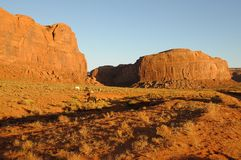 Wild Horses in Monument Valley at Sunset Royalty Free Stock Photo