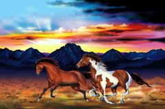 Wild Horses Run Illustration. Two Running Wild Horses at the Sunset Artistic Illustration. Galloping Mustangs. Wilderness Prairies and the Mountains Range Stock Image