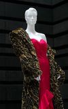 Wild and Hot. Mannequin dressed in a red evening gown an rich extravagant feline inspired fur coat Royalty Free Stock Images