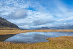 Wild Icelandic landscape with lake. Royalty Free Stock Photos
