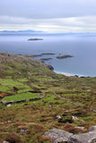 Wild irish fields and islands coastal view Royalty Free Stock Photography