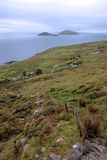 Wild irish fields scarriff islands coastal view Stock Image