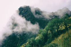 From the wild jungle on the Inca Trail, the Andes with clouds. Peru. royalty free stock image