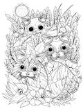 Wild kitties adult coloring page Stock Photos