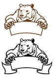 Wild kodiak bear with banner. As a mascot isolated on white Royalty Free Stock Photography