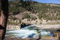 Wild Kootenai River in mountains of Northwestern Montana. Part of the Kootenai Falls in Northwestern Montana. the River of the Kootenai flows through rugged stock images