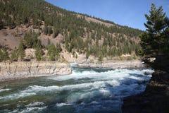 Wild Kootenai River r in Northwestern Montana. The Kootenai Falls in Northwestern Montana. the River of the Kootenai flows through rugged rocks cut by time. It royalty free stock image