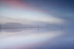 Wild lake at misty sunrise Stock Image