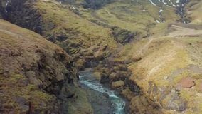 Mountain landscape in Iceland. Wild landscape in Iceland, aerial footage from Seljavallalaug stock video footage