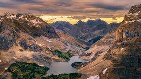 Wild Landscape Mountain Range And Lake View, Banff National Park Royalty Free Stock Photo