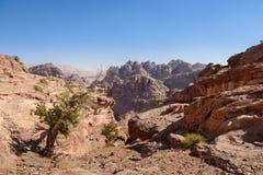 Wild landscape of rock mountains in Petra, Jordan Royalty Free Stock Photo