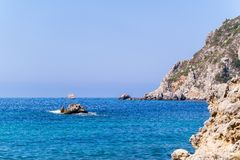 Wild landscape of rocky hills on the sea coast Royalty Free Stock Photos