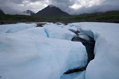 Wild landscape, Russia. Ice glacier blocks,stones. Royalty Free Stock Photography