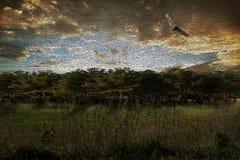 wild lebende Tiere in der Feldmalerei Stockbild