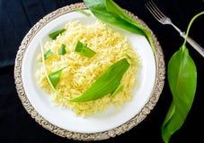 Wild leek with saffron basmati rice and lemon Stock Image