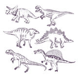 Wild life with dinosaurs. Hand drawn illustrations set of t rex and other dino types Royalty Free Stock Photo