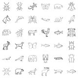 Wild life icons set, outline style Royalty Free Stock Images