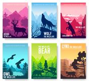Wild life in nature vector brochure cards set. Animals template of flyear, magazines, poster, book cover, banners. Habitat invitation concept background Stock Photo