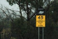 Wild life warning on Arthur Road, Tasmania. Speed limit and wild life warning note on Arthur Highway on way to Port Arthur, Hobart, Australia Royalty Free Stock Photos