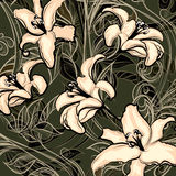 Wild lilies. Illustration of blossoming wild lilies against dark background drawn in vintage graphic style Royalty Free Stock Photos