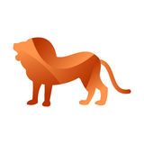 Wild lion animal jungle pet logo silhouette of geometric polygon abstract character and nature art graphic creative zoo Stock Images