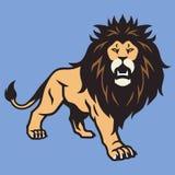 Wild Lion Cartoon Sports Mascot Standing Vector Illustration. Icon royalty free illustration