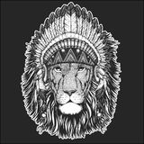 Wild lion Cool animal wearing native american indian headdress with feathers Boho chic style Hand drawn image for tattoo. Cool animal wearing native american Royalty Free Stock Photo