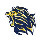 Wild Lion Head Mascot Roaring Vector-Embleem Royalty-vrije Stock Foto