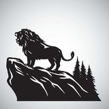 Wild Lion Snarling Roaring on a Hill. Vector Illustration Logo Design Royalty Free Stock Photo