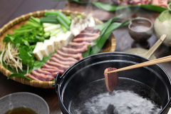 Wild mallard duck hot pot, japanese one pot dish. Cooked at the table, winter cuisine served in the pot Royalty Free Stock Photos