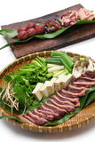 Wild mallard duck raw meat on bamboo tray Stock Images