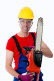 Wild man with chain saw Royalty Free Stock Photos