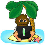 Wild man with laptop on island Royalty Free Stock Photos