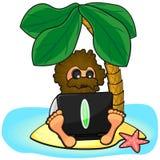 Wild man with laptop on island Royalty Free Stock Photos