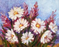 Wild meadow flowers with daisies bouquet oil painting