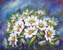 Wild meadow flowers daisies bouquet oil painting
